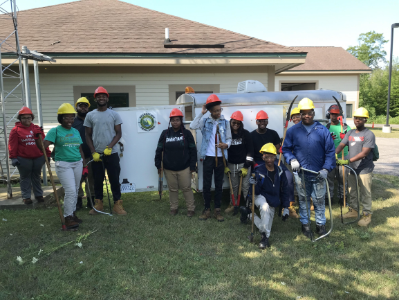 Green Corps Teens with PPE and tools
