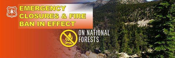Banner image with text emergency closures and fire ban in effect.