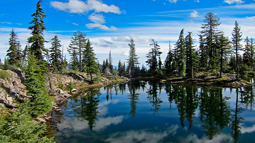 Holst Lake, nestled deep in the Sky Lakes Wilderness Area.