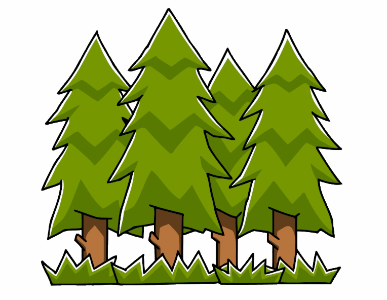 Clipart image of three evergreen trees