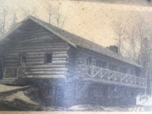 Historic photo of the South Kawishiwi Pavillion shortly after construction.