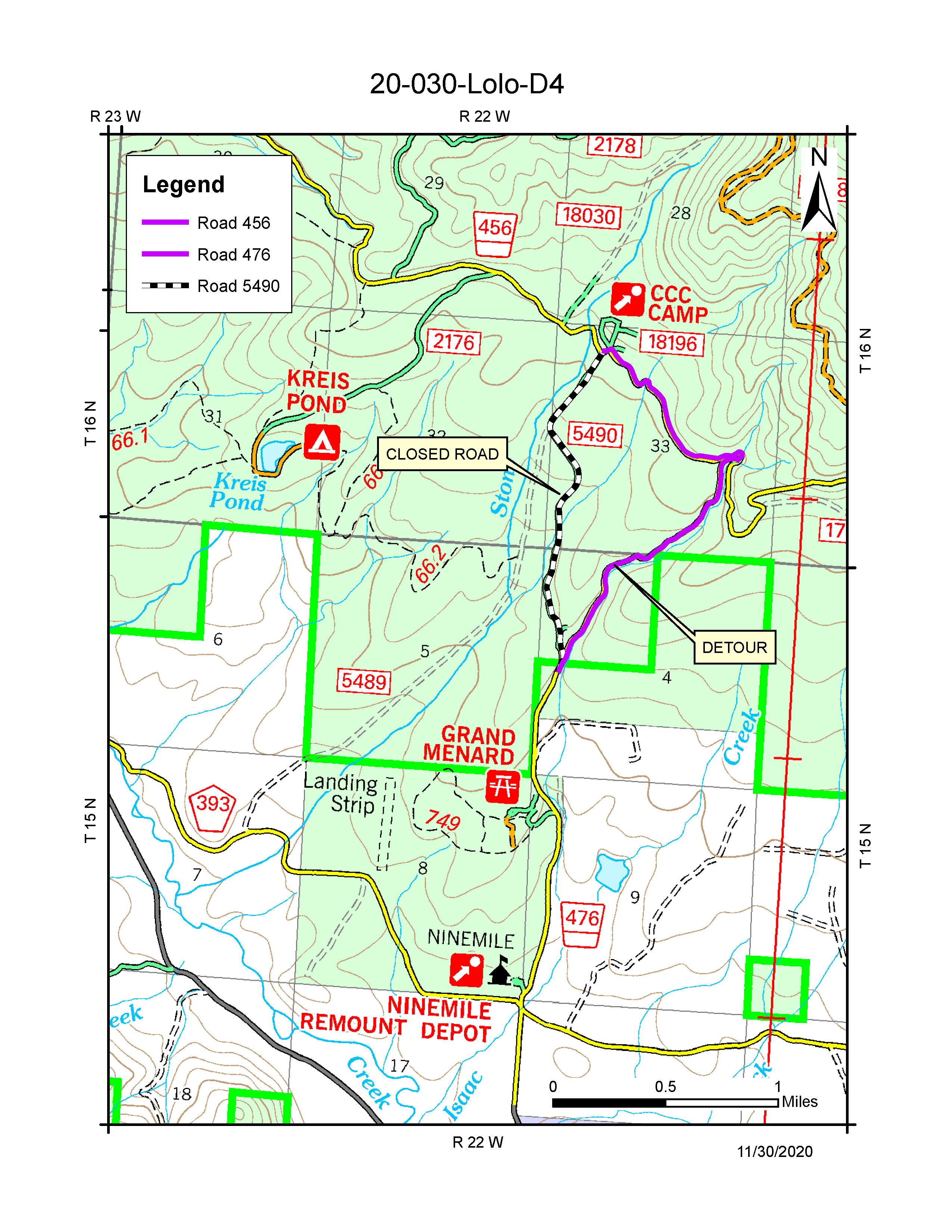 map of stony creek ccc pasture road closure