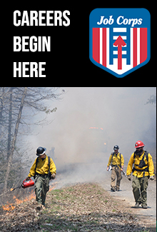 Text reads Careers Begin Here over an image of firefighters conducting a prescribed burn.