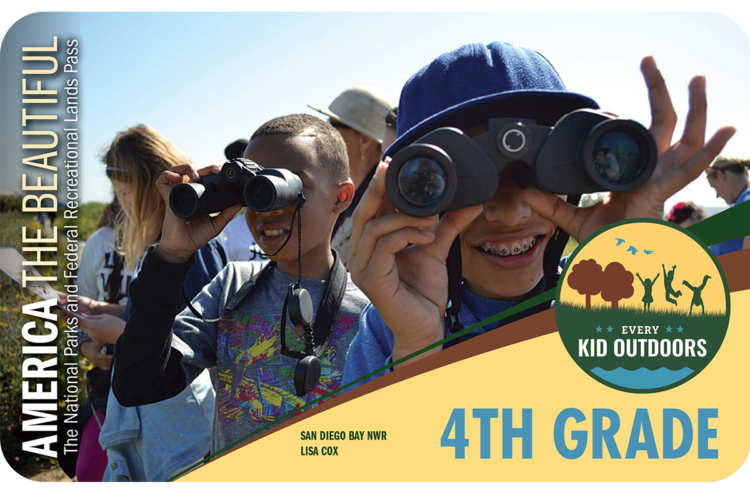 Every Kid Outdoors pass with kids holding binoculars