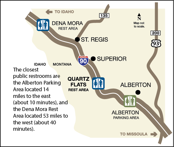 map showing alaberton and dena mora rest areas along I-90 east and west of the Quartz Flats Rest Area, which is south of Superior, Montana