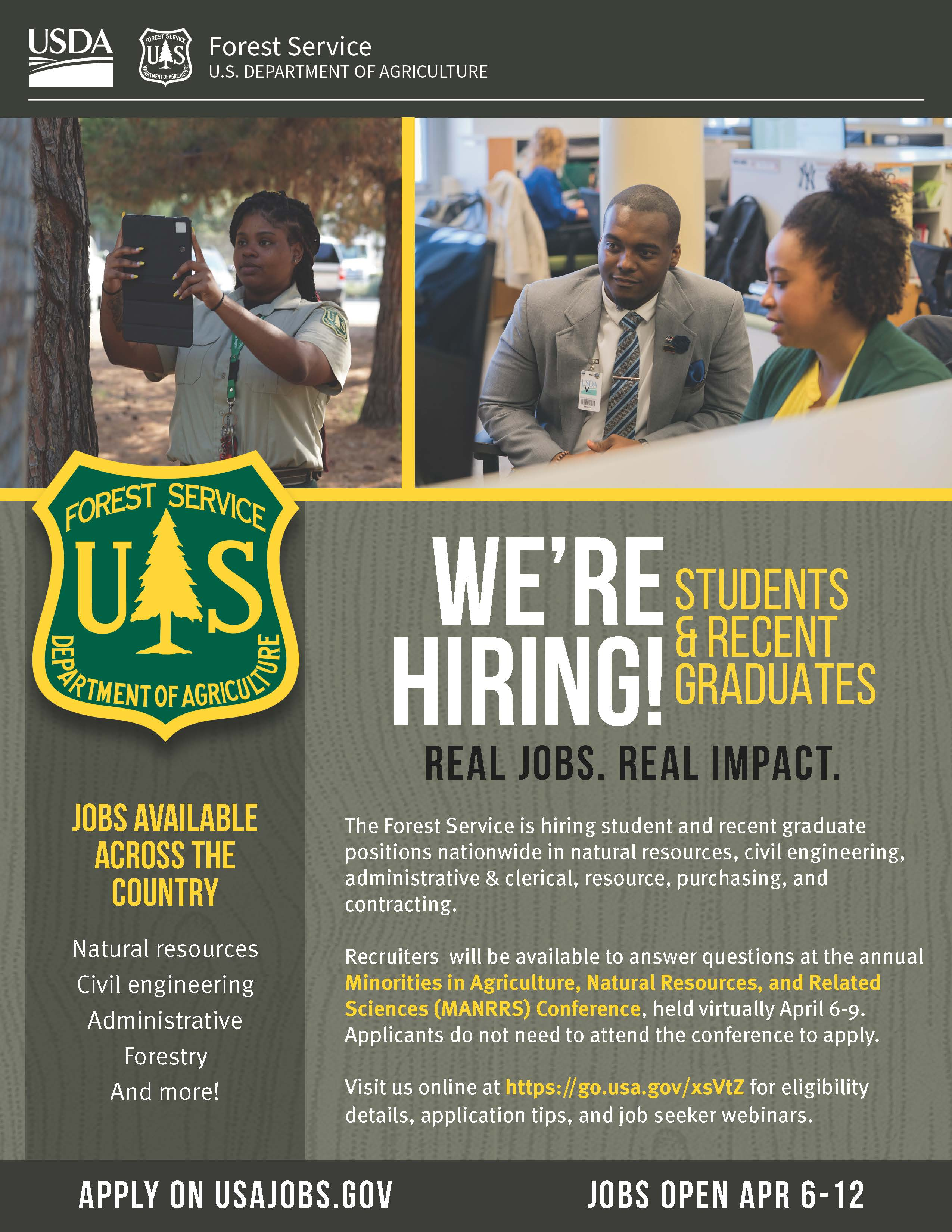 image showing information regarding the student trainee outreach and hiring event