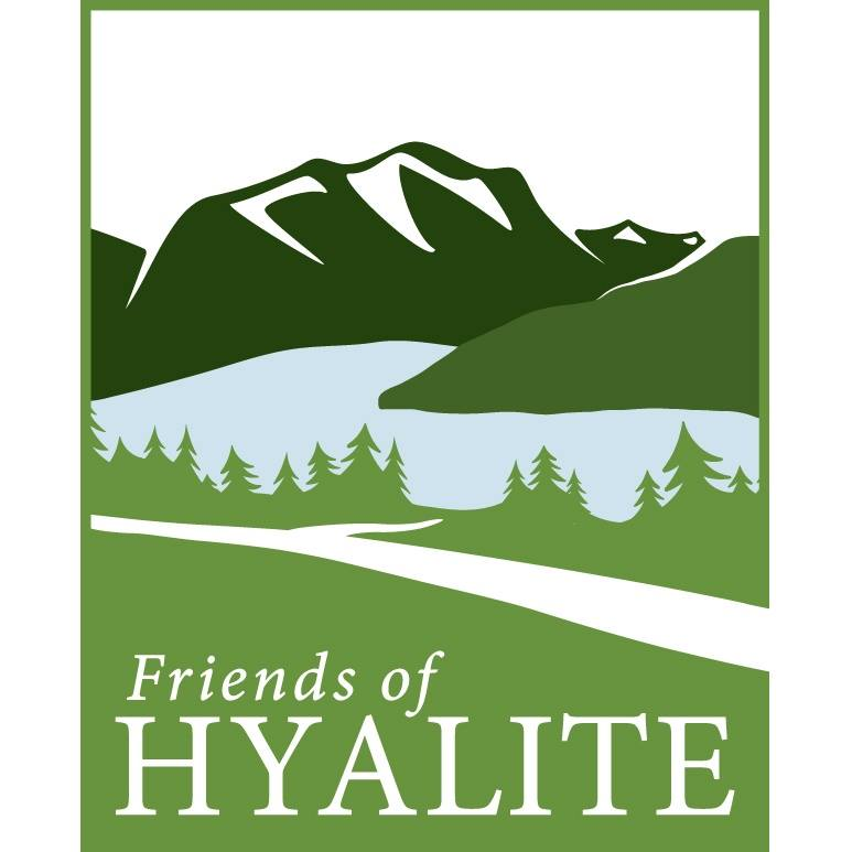 logo with green mountain and river depicting friends of Hyalite