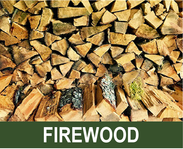 Photograph shows a stack of split firewood.