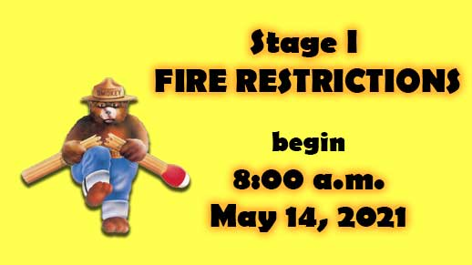 Stage 1 Fire Restrictions begin at 8 AM May 14 on Prescott NF