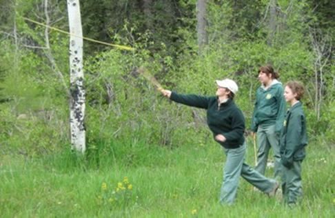 The archaeology crew practicing with the atlatl. (2009 season)