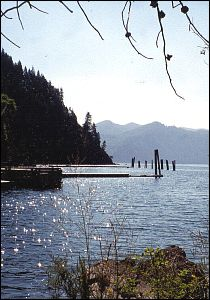 A photo of Whiskey Rock Bay on Lake Pend Oreille from the Whiskey Rock Bay Campground.
