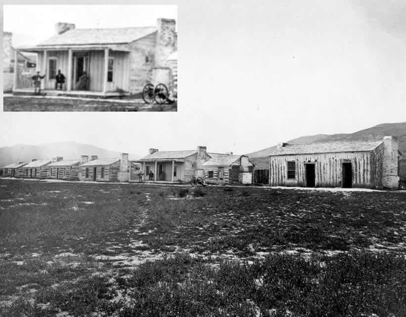 Two old photographs showing the buildings at Fort Ruby