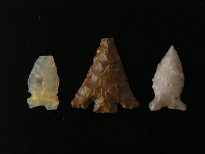 Photograph showing three of the projectile points found during the Fort Ruby Passport In Time