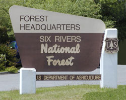 [Photograph]: Six Rivers National Forest Forest Headquarters Sign.