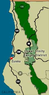 Map of Six Rivers National Forest with the Lower Trinity Ranger District highlighted.