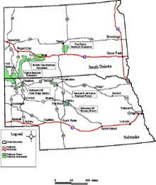 Click on to see larger view of this map of Nebraska National Forest administered areas in Nebraska