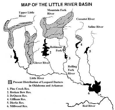 [Picture]: A map of the distribution of Leopard Darters in the Little River Basin