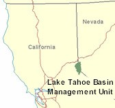 [Graphic]: Depicts the location of the Lake Tahoe Basin Management Unit in the state of California.