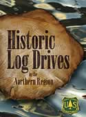 Scanned cover of the Historic Log Drives showing water and a slice of a log.