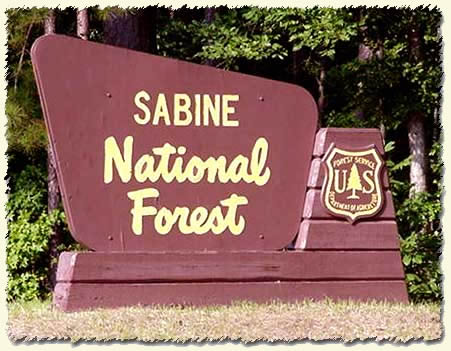 Sabine National Forest portal sign.