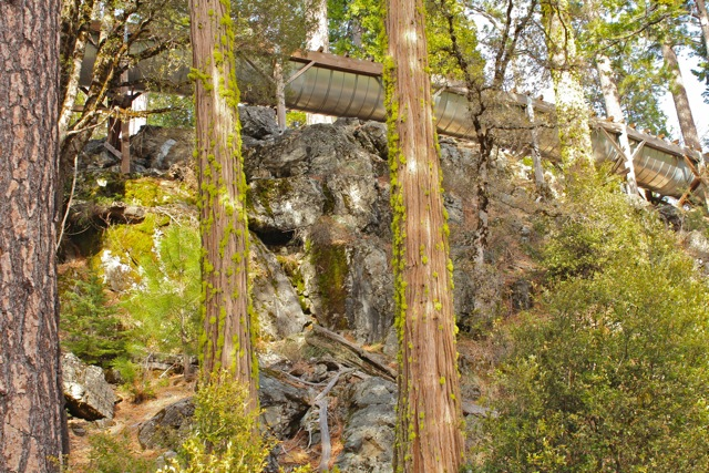 view looking up a rocky, forested slope at a wood and metal flume