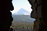 View from the top of the observatory through an opening to see the North Sister