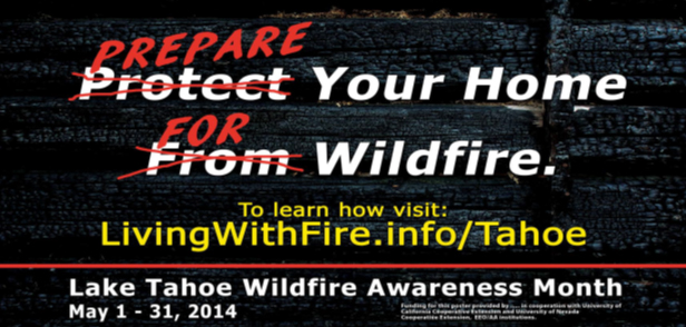 Black background with Prepare Your Home for Wildfire in white, red, and yellow letters