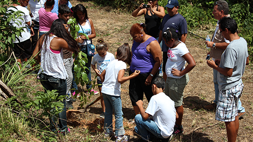 school children planting native trees