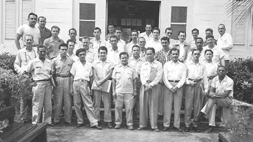 Tropical Forestry course graduates in 1957 at the back of the main building.