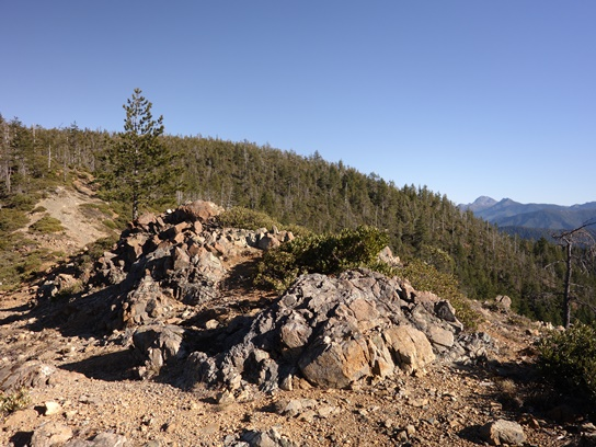 View of mountains, peaks, and tree-covered slopes from rocky promontory on on Elk Camp Ridge Trail
