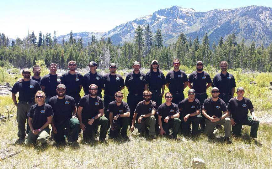 The Tallac Hotshot Crew with Mt. Tallac in the Background