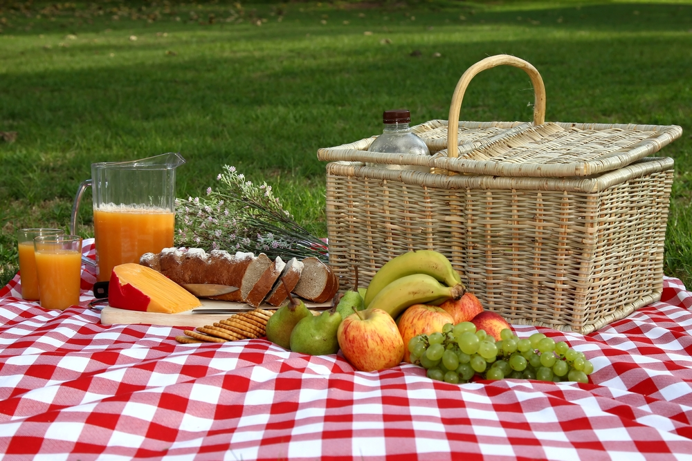 Red/white table cloth laid out with a picnic basket and food