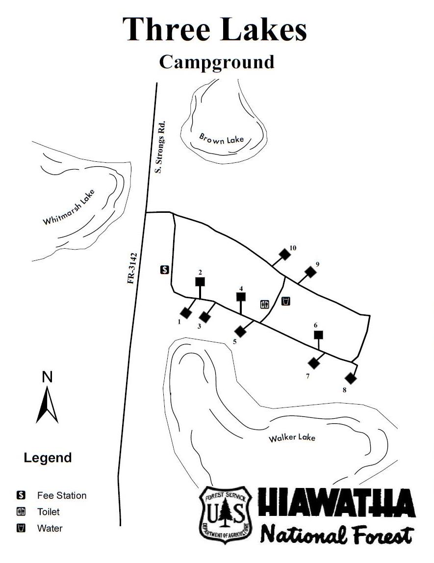 Map of Three Lakes Campground