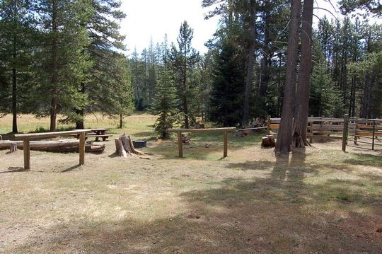 Corral and hitching posts at the Little Lasier Horse Camp