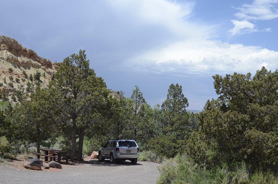 Image with a white vehicle next to a table in a tree vegetated campground