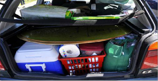 Food and camping supplies packed in trunk.