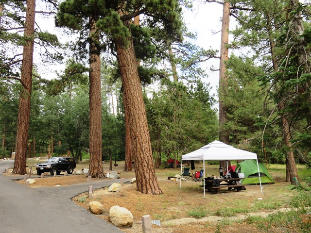Hanna Flat Campground is located in the forest north of Big Bear Lake.