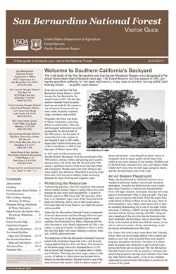 This is a small image of the first page of the San Bernardino National Forest Visitor Guide for 2014