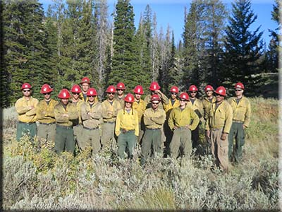 Prescott Hotshots group photo in forested setting wearing fire fighting uniforms