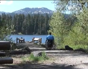 View of Fish Lake from wheelchair accessible pathway