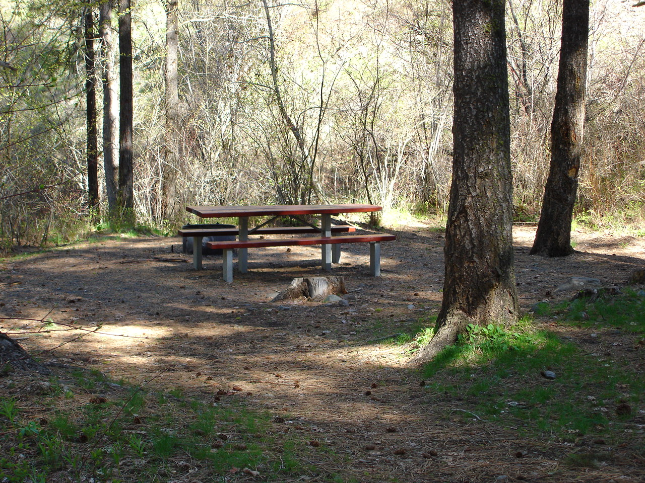 Camp site with table