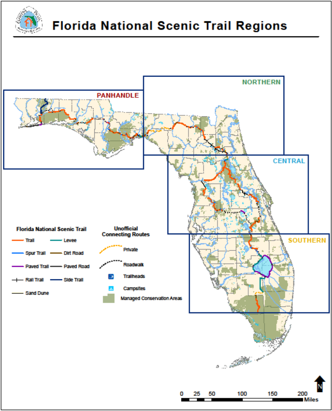 Map of the four geographic regions of the Florida National Scenic Trail
