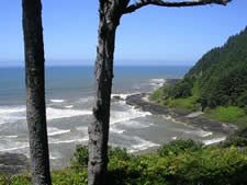 view out over Pacific Ocean from Cape Perpetua Visitor Center