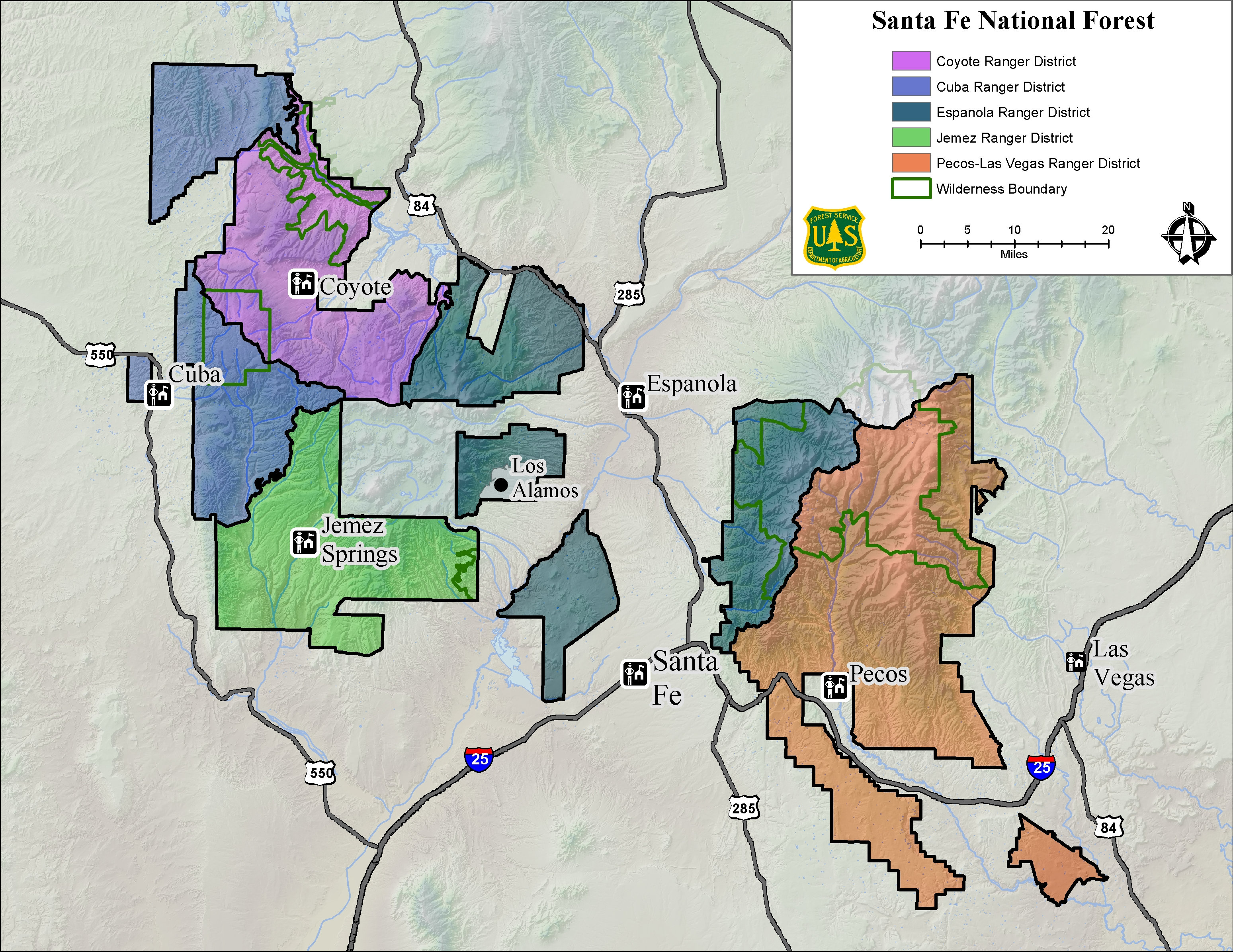 Map of Santa Fe National Forest Ranger Districts