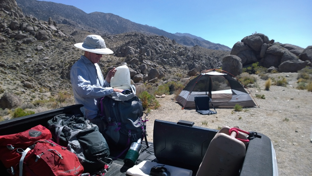 Preparing for a trip into Inyo Mountains Wilderness