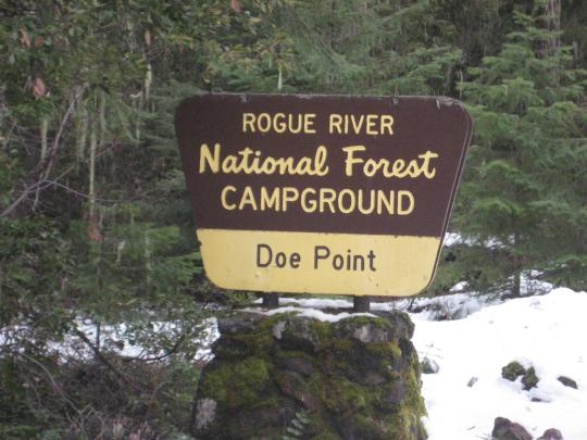 Doe Point Campground sign.