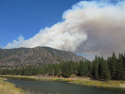 Smoke from a controlled burn on the Plains-Thompson Falls Ranger District.