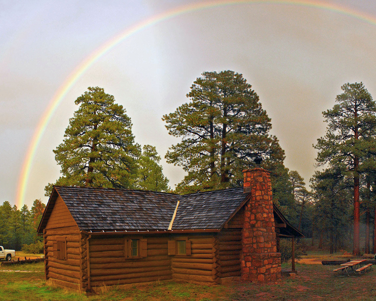 Hull cabin with rainbow