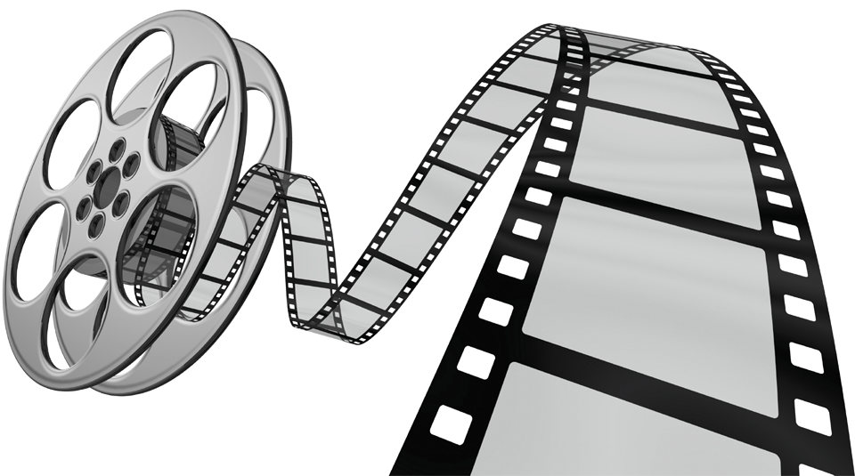 Illustration of a movie reel with film rolling off the reel.