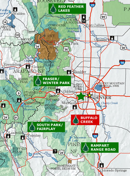 Denver/Front Range Area Christmas Tree Cutting Map